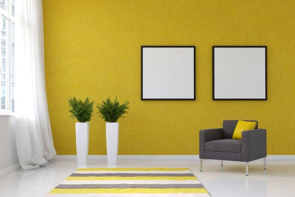 tinteggiature da interni giallo soggiorno di design